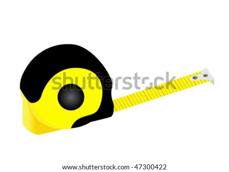 Illustration of a detailed tape measure isolated on white background - stock vector
