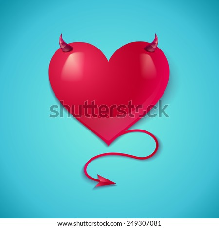 Illustration of a devil heart with tail and horns - stock vector