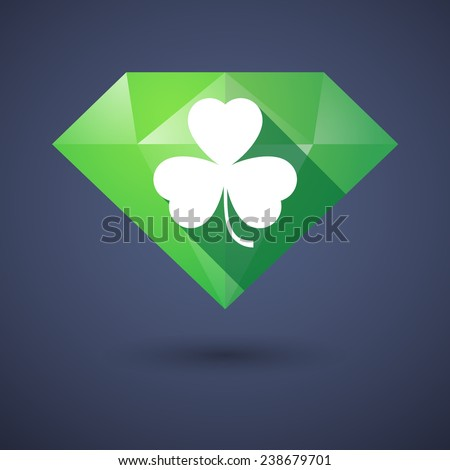 Illustration of a diamond icon with a clover - stock vector