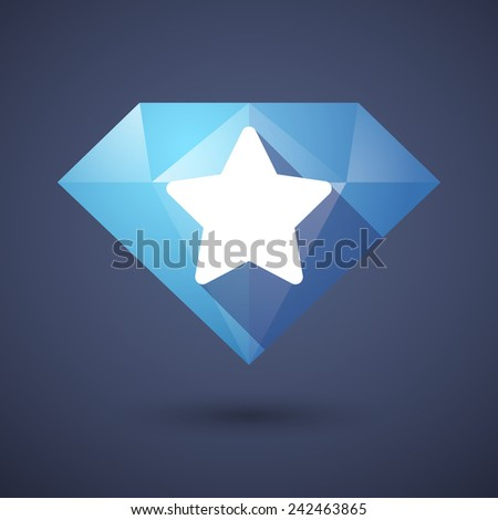 Illustration of a diamond icon with a star - stock vector