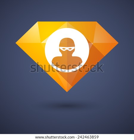 Illustration of a diamond icon with a thief - stock vector