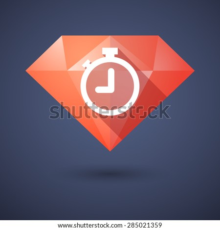 Illustration of a diamond icon with a timer - stock vector