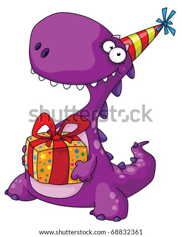 illustration of a dinosaur and a gift - stock vector