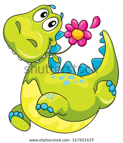 illustration of a dinosaur and flower - stock vector
