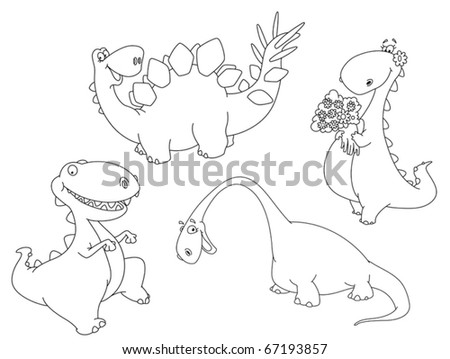 illustration of a dinosaurs outlined