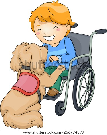 Illustration of a Disabled Boy Playing with an Assistance Dog - stock vector