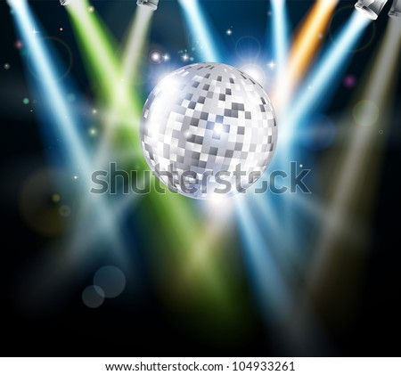 Illustration of a disco mirror ball or glitter ball with disco lights - stock vector