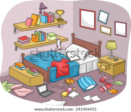 Illustration of a Disorganized Room Littered With Pieces of Trash - stock vector