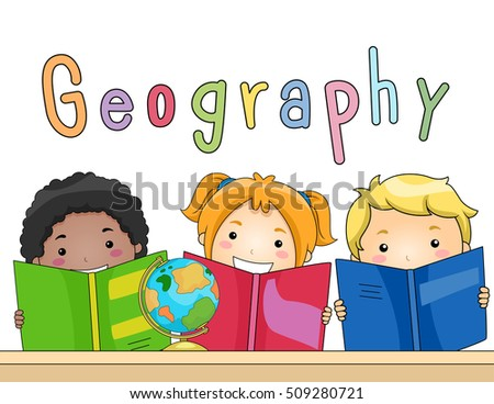 Illustration of a Diverse Group of Preschool Kids Studying Geography Together