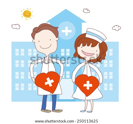 Illustration of a doctor and a nurse outside the hospital building. - stock vector