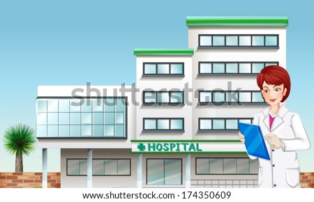 Illustration of a doctor outside the hospital building - stock vector