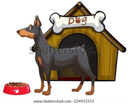 Illustration of a dog and a house - stock vector