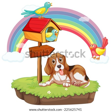 Illustration of a dog sitting under a birdhouse - stock vector