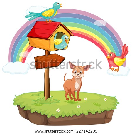 illustration of a dog standing under a birdhouse - stock vector
