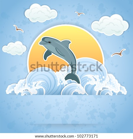 Illustration of a Dolphin in the water.