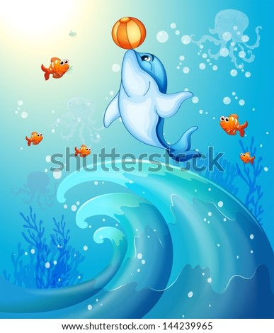 Illustration of a dolphin playing a ball under the sea - stock vector