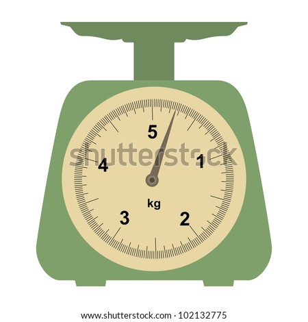 Illustration of a domestic weigh-scales on white - stock vector