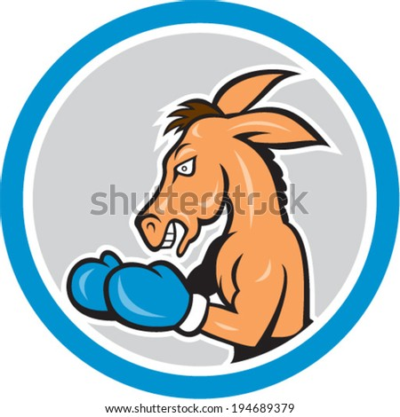 Illustration of a donkey mascot boxer boxing set inside a circle in isolated background done in cartoon style.