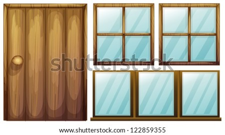 Illustration of a door and windows on a white background - stock vector