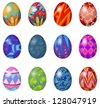 Illustration of a dozen of easter eggs on a white background - stock photo