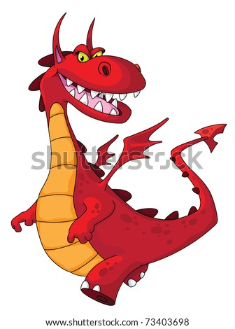 illustration of a dragon red - stock vector