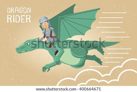 Illustration of a dragon rider - stock vector