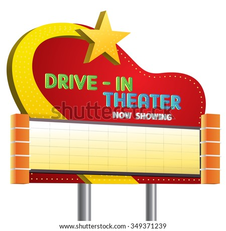 illustration of a drive in theater now showing sign banner cartoon on isolate white background - stock vector