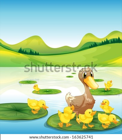 Illustration of a duck and her ducklings at the pond - stock vector