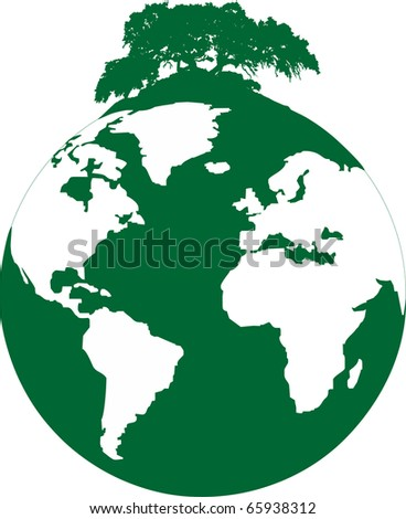 illustration of a ecological footprint of mankind on the planet - stock vector