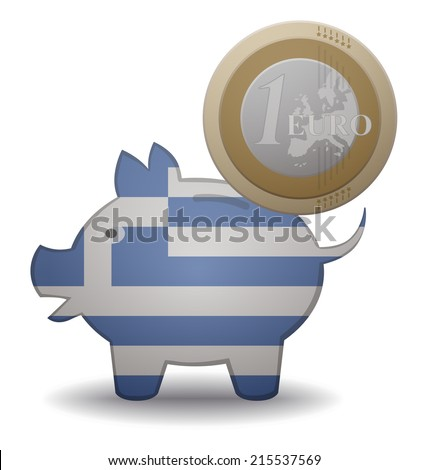 illustration of a euro coin going into a piggy bank with the flag of Greece - stock vector