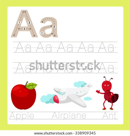 Illustration of A exercise A-Z cartoon vocabulary - stock vector