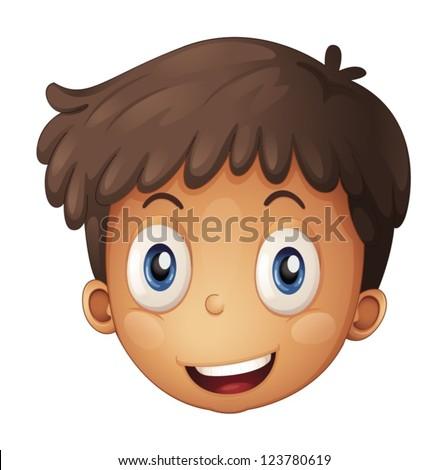 a face of a boy on a white Boy Hair Clipart