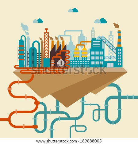 Illustration of a factory for manufacturing products or refinery plant for processing natural resources with a network of attached pipes for distribution - stock vector
