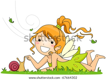 Illustration of a Fairy Playing with a Snail