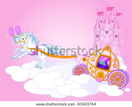 Illustration of a Fairy Tale carriage in the sky - stock vector
