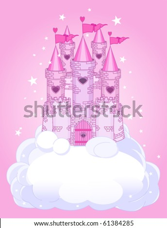 Illustration of a Fairy Tale princess castle in the sky - stock vector