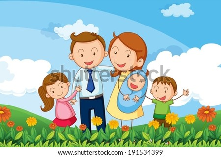 Illustration of a family at the hills - stock vector