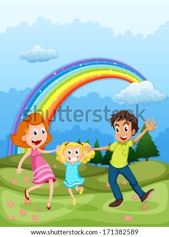 Illustration of a family at the hilltop and a rainbow in the sky - stock vector