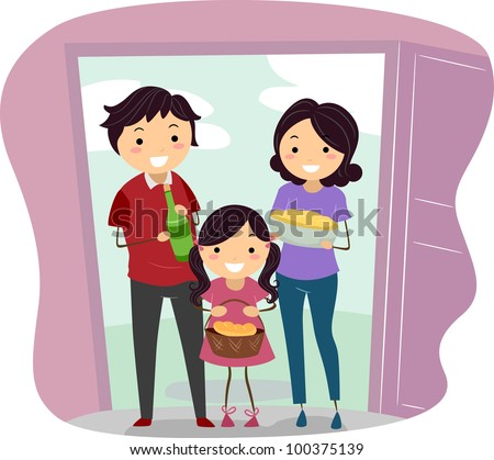 Illustration of a Family Carrying Housewarming Presents