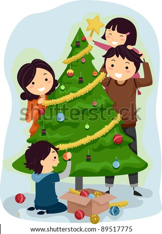 Illustration of a Family Decorating a Christmas Tree - stock vector