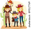 Illustration of a Family Dressed as Cowboys - stock vector