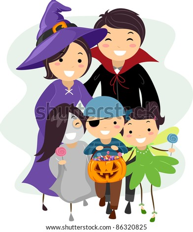 Illustration of a Family Dressed in Halloween Costumes