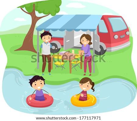 Illustration of a Family Having a Picnic Near a Lake - stock vector