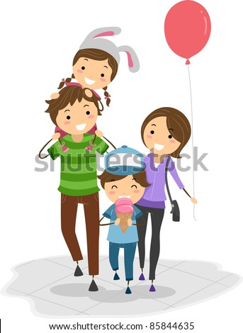 Illustration of a Family in a Theme Park - stock vector