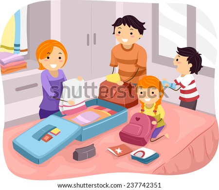 Illustration of a Family Packing Their Things for a Trip - stock vector
