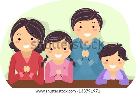 Illustration of a Family Praying Together - stock vector