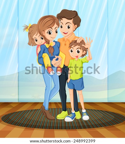Illustration of a family standing in the room - stock vector
