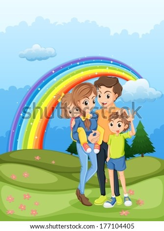Illustration of a family strolling with a rainbow in the sky - stock vector