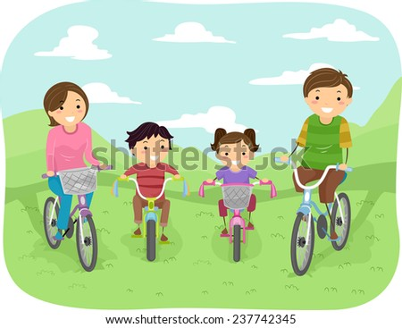 Illustration of a Family Taking a Stroll in the Park in Their Bicycles - stock vector