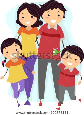 Illustration of a Family Wearing Matching Outfits - stock vector